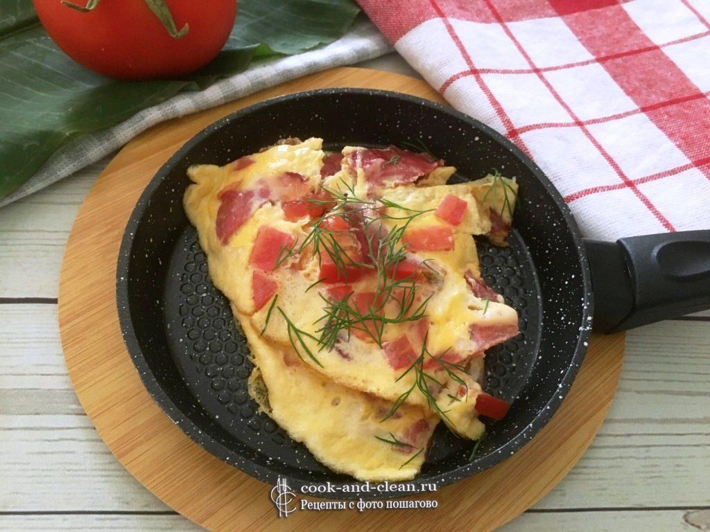 как приготовить омлет с помидорами и ветчиной