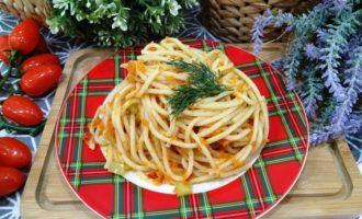как приготовить спагетти с овощами на сковороде