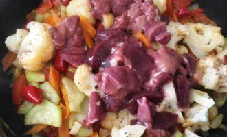 куриная печень с овощами пошаговый
