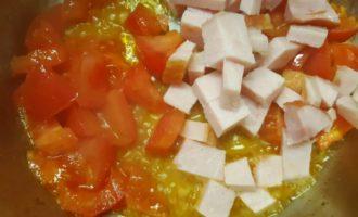 макароны с беконом на сковороде