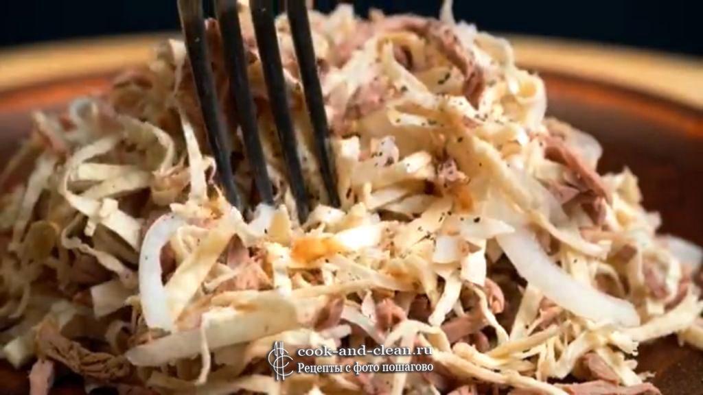салат с говядиной и луком пошагово