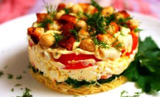 слоеный салат с кальмарами