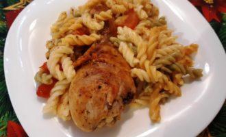 Макароны запеченные в духовке с курицей