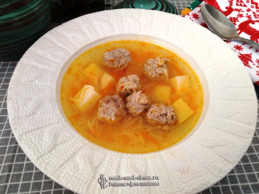 вкусный суп с фрикадельками и вермишелью
