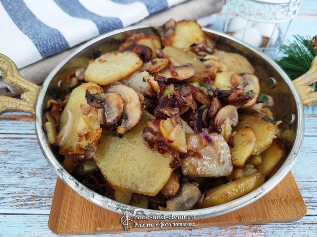 жареная картошка с грибами на сковороде пошаговый