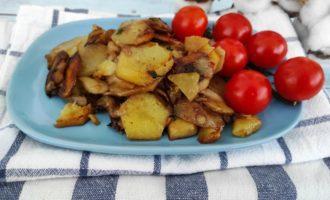 жареная картошка с шампиньонами пошаговый