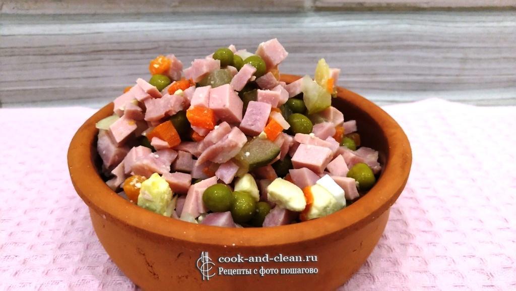 как приготовить рецепт Оливье с вареной колбасой