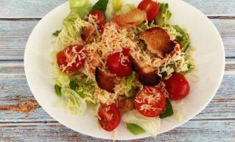 салат Цезарь с креветками без яиц пошагово