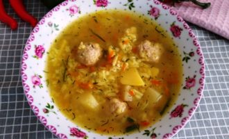 суп рисовый с фрикадельками пошаговый