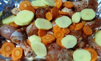 куриная голень с овощами в пакете