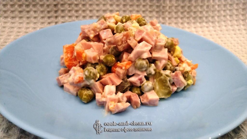 оливье классический с колбасой и солёными огурцами пошаговый рецепт