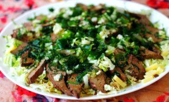 салат из печени и пекинской капусты