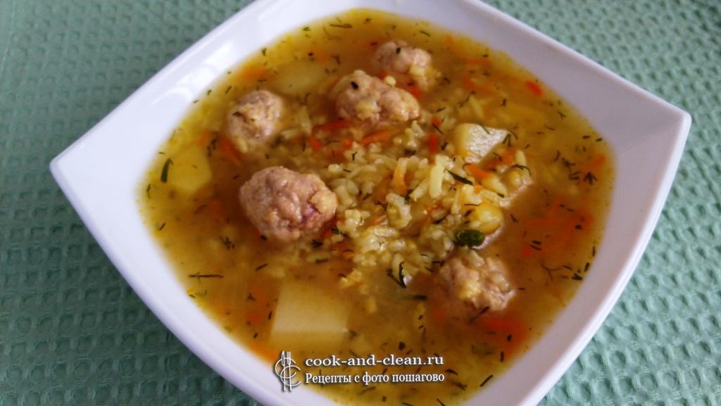 суп с фрикадельками из фарша с рисом пошагово с фото