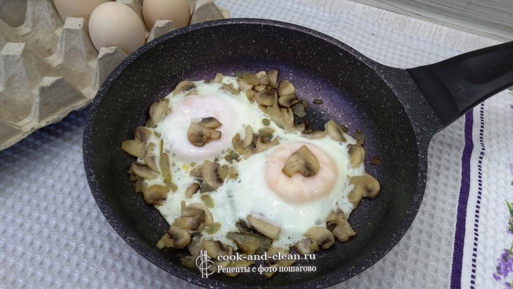 яичница с грибами пошагово