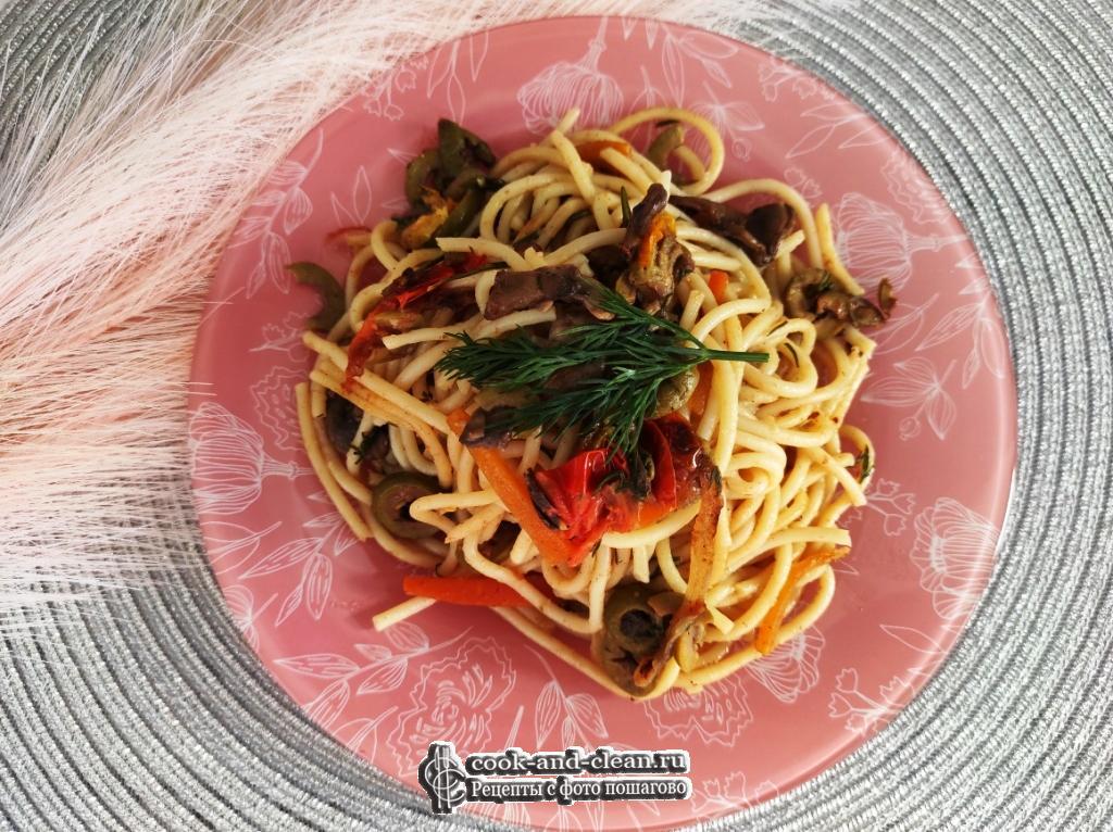 спагетти с шампиньонами на сковороде