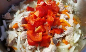 мясо тушеное с перцем болгарским морковью