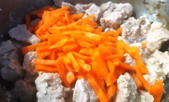 тушеное мясо с луком и морковью