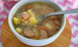 рисовый суп с колбасой пошаговый